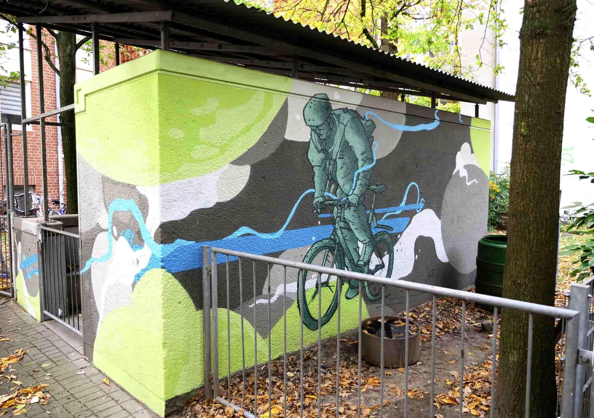 Fahrrad Graffiti in Gruen