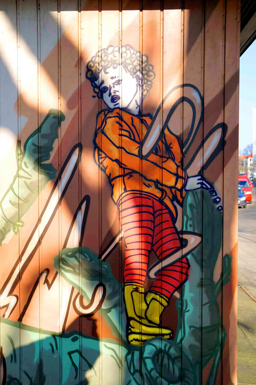 Kletterndes Kind Comic Graffiti kunst