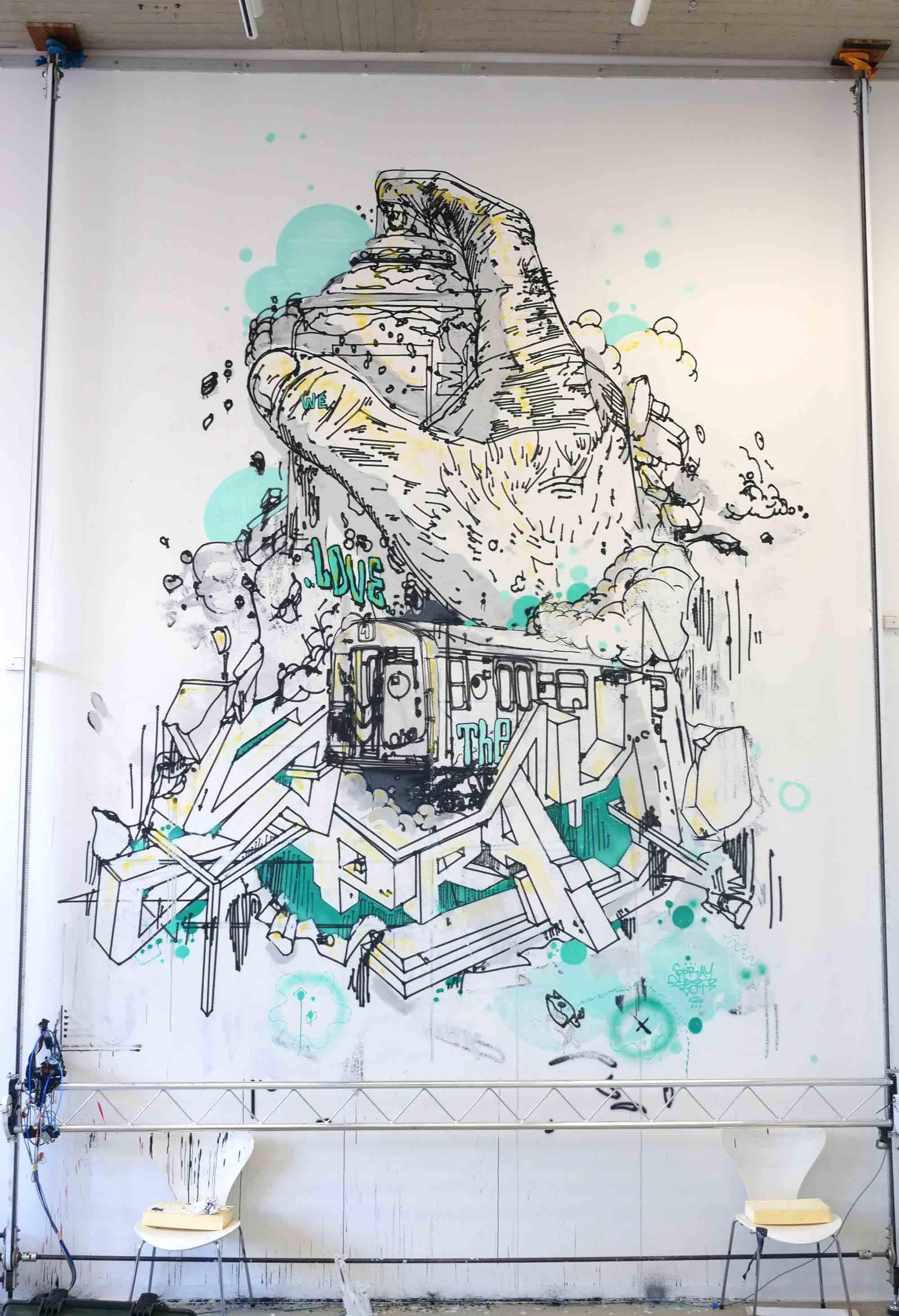 Sprühdose mit Schriftzug we love the spray im Sprengel museum Hanover